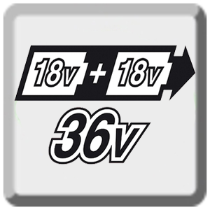 Для снабжения мощной 36 В системы устанавливаются два 18 В литий-ионных аккумулятора