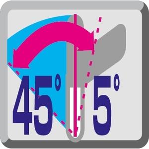 Рез под углом влево до 45 °, вправо до 5 °
