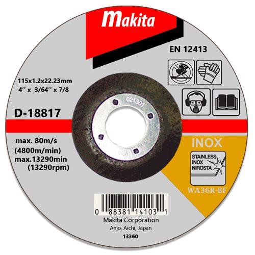 Отрезной диск по нержавейке Makita 115 мм (D-18817)